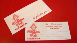 The Coffee Pot Sandwich Gift Certificates